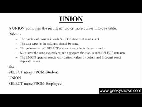 135. UNION In SQL (Hindi)
