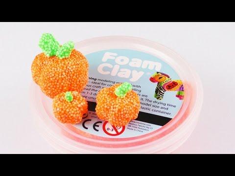 Mini Kürbis aus Wolkenschleim selber machen 🎃 Süße Deko Idee für den Herbst 🎃 Foam Clay Idee
