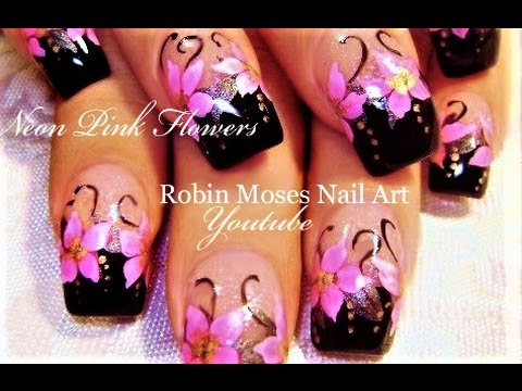 Hot Pink Flowers Nails Black Tips Diy Neon Nail Art Design
