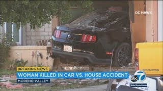 Woman trapped, killed in bedroom after car crashes into Moreno Valley home I ABC7