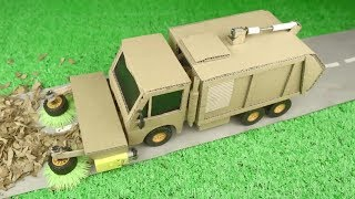 How to make Garbage Truck Street Sweeper from Cardboard