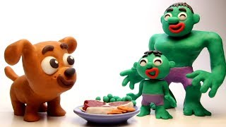 Puppy dog & Hulk family 💕 Funny Play Doh Stop Motion videos