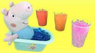 Peppa pig y george:aprender colores en español e ingles en bañera.Nuevo video educativo de juguetes