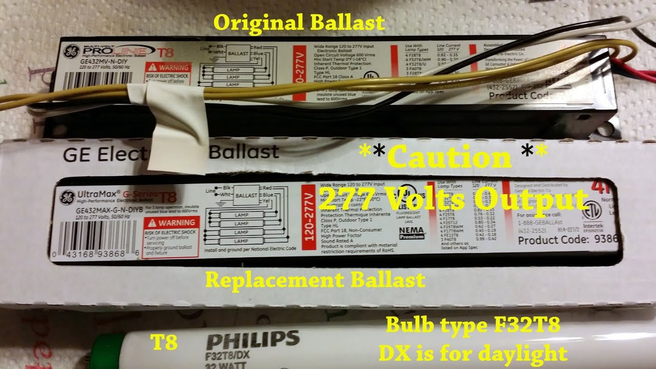 How To Replace A T8 Electronic Kitchen Light Ballast Youtube Wiring Diagram On 277 Volt Fluorescent Fixtures