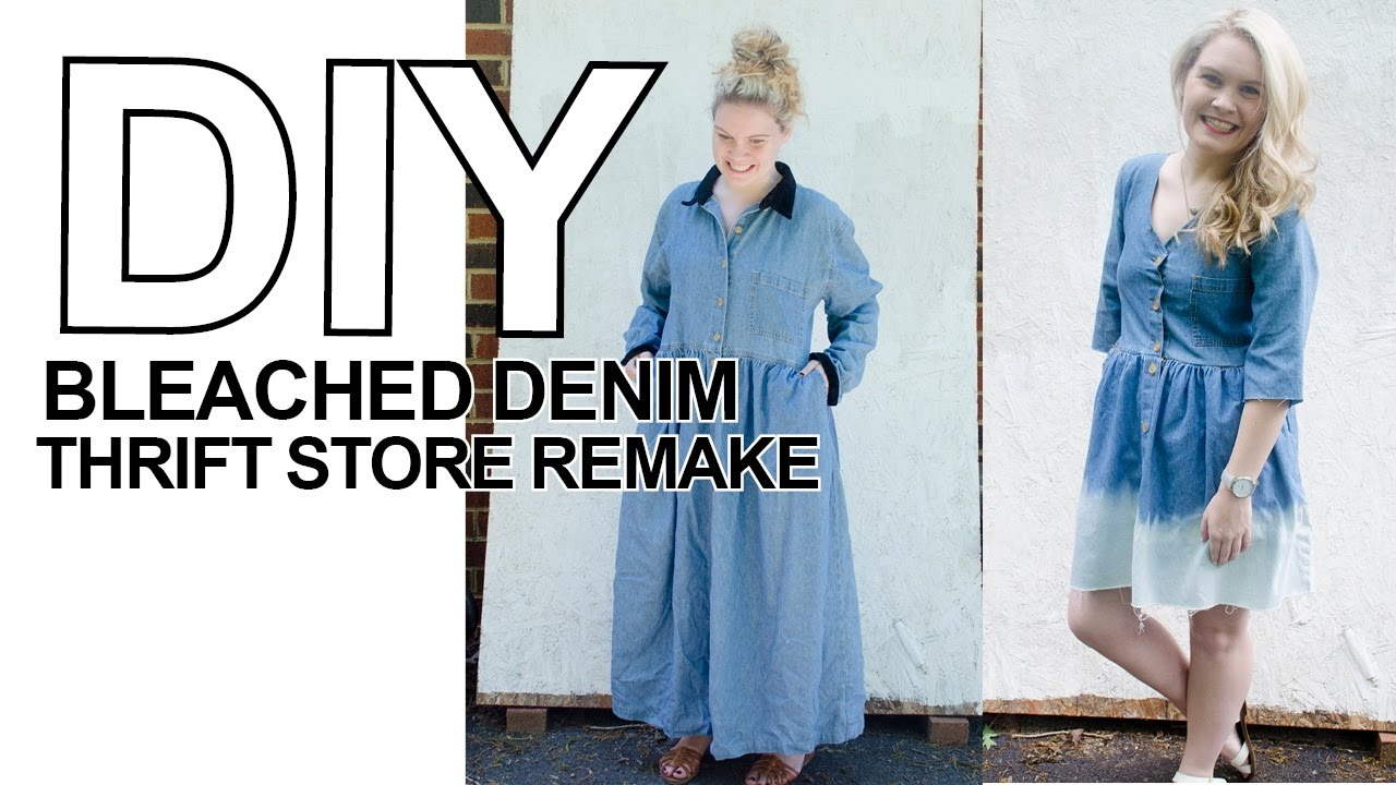 DIY How to Remake a Thrift Store Denim Dress with Bleach - YouTube