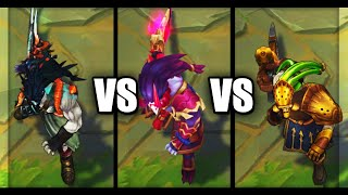 Blood Moon Tryndamere vs Demonblade vs Chemtech Tryndamere Skins Comparison (League of Legends)
