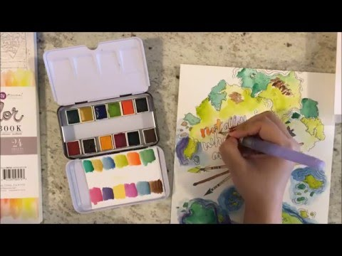 Playing with the Prima Watercolors and Coloring Book. - YouTube