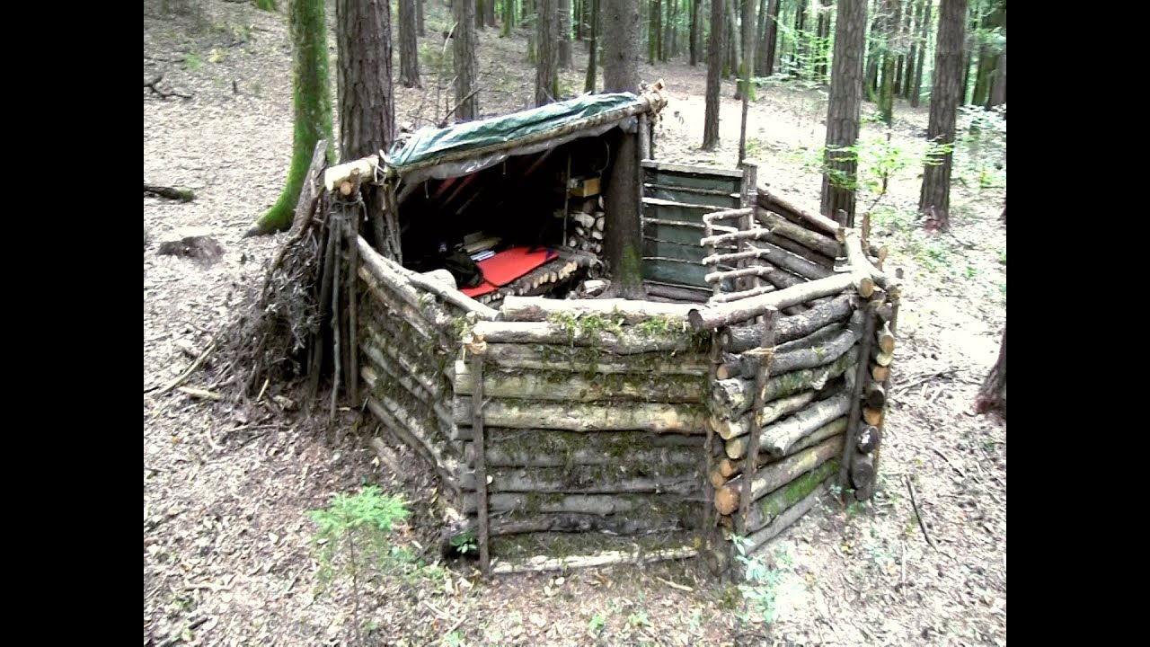 My super shelter a tour through my bug out camp youtube for Hunting camp building plans