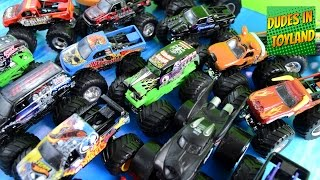 Monster trucks toys collection Grave Digger Jam in MUD videos for children kids toddlers 2015