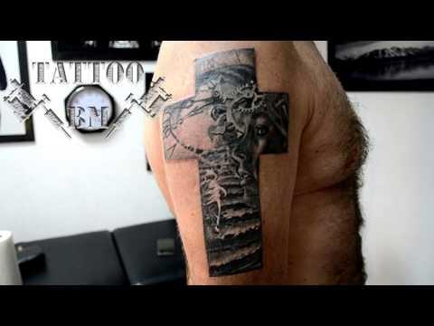 Tattoo A Cross On His Arm  Second Session. Тату-крест на руке. Второй сеанс.