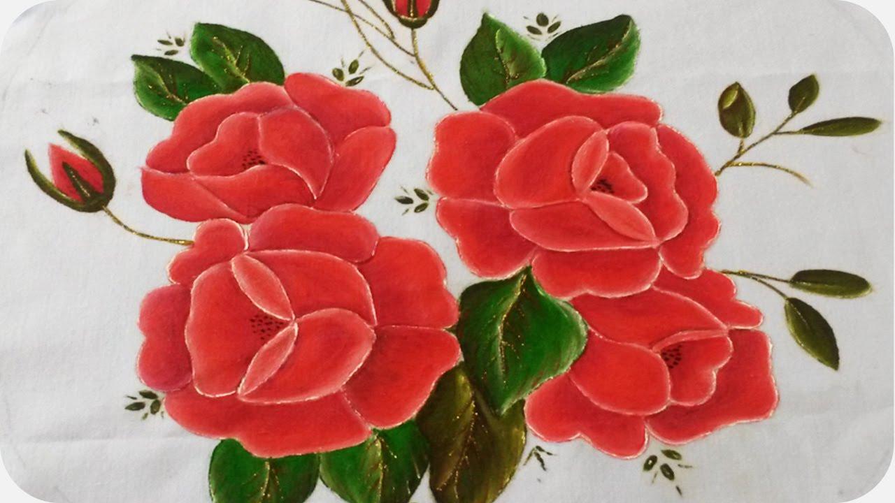 Rosas rojas  Pintura sobre tela 12  YouTube