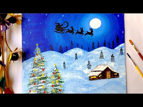 Snowy Christmas Painting / Easy canvas painting for beginners / Moonlight painting