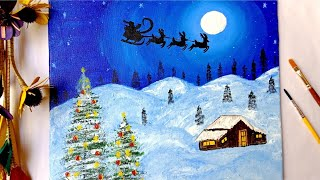 Snowy Christmas Painting Easy Canvas Painting For Beginners Moonlight Painting Youtube