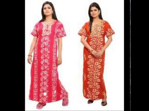Nighty With Neck Embroidered Designs Youtube