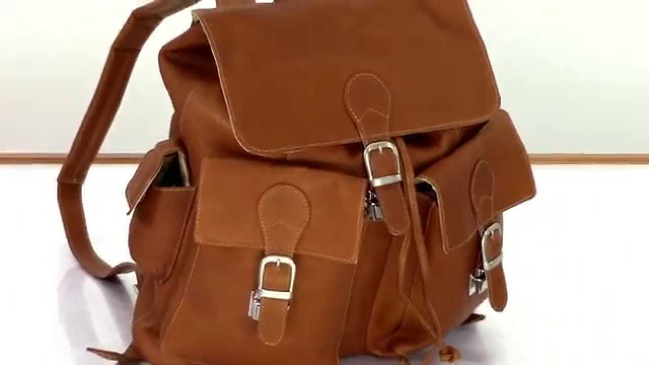 LuggageBase Video Review of the Piel Leather Buckle Flap Backpack ...