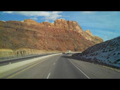 Driving through the canyons on I-70 in SE Utah.