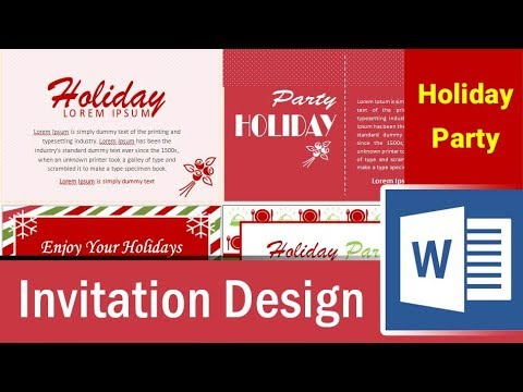 6 holiday party invitation design in Microsoft Word - Part 1 - YouTube