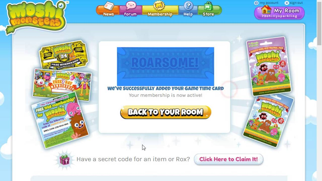 how to get a free membership on moshi monsters