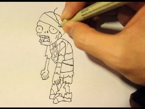 Zombie Face Line Drawing : How to draw a zombie from plants vs. zombiesstep by stepeasy