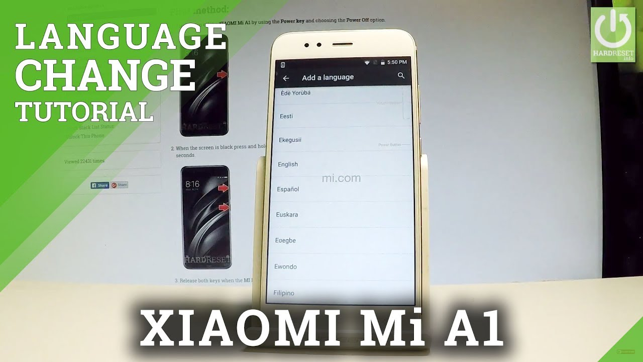 new arrival 32445 c06ab XIAOMI Mi A1 How to Change Language