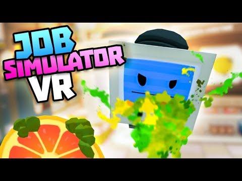 BAD STORE CLERK VOMITS ON CUSTOMER BOT - Job Simulator VR Gameplay - VR HTC Vive Gameplay
