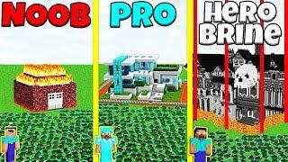 Minecraft Battle: NOOB vs PRO vs HEROBRINE: ZOMBIE BASE DEFENSE CHALLENGE / Animation
