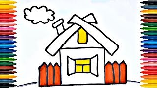 Family House Drawing How to Draw And Paint Family House Coloring Page