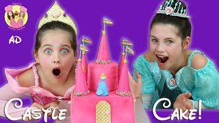 DISNEY PRINCESS CASTLE CAKE! Rainbow Surprise inside! Ariel, Sleeping Beauty, Snow White