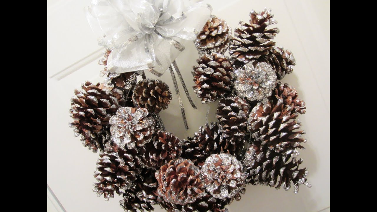 diy glitter pinecone christmas wreath youtube - Homemade Pine Cone Christmas Decorations