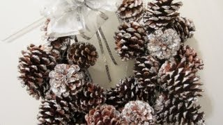 DIY Glitter Pinecone Christmas Wreath