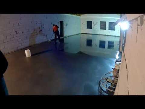видео: наливной пол в гараж под топинг и полировку