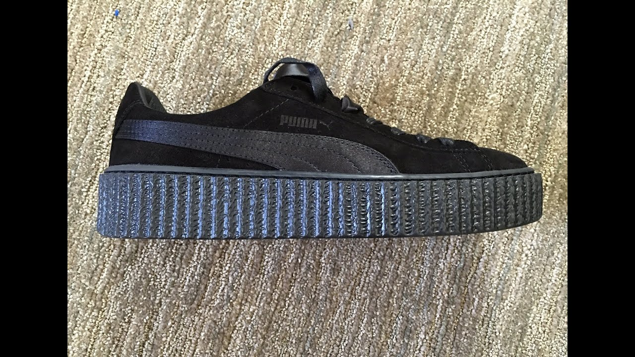 low priced d73b1 e9963 Rihanna Creepers Black Satin Unboxing