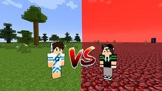 MUNDO NORMAL VS MUNDO DO NETHER NO MINECRAFT !!