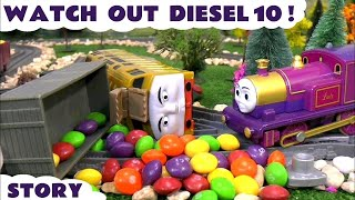 thomas and friends skittles candy crash diesel 10 prank accident toy trains kids family fun