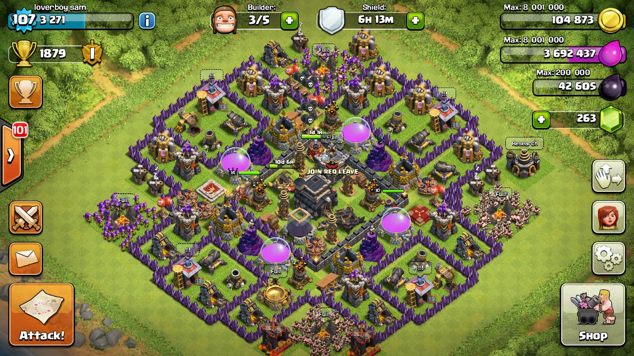 Clash of clans town hall 9 trophy base air sweeper 4 mortars