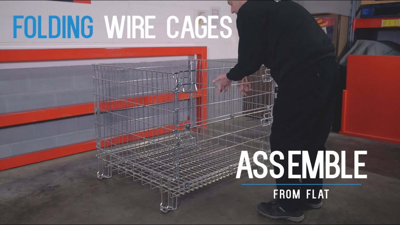 Folding Wire Pallet Cages - Steps & Stillages Ltd - YouTube
