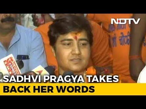 """""""Take Back My Words"""": Sadhvi Pragya After Backlash Over 26/11 Hero Remark"""
