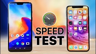 OnePlus 6 vs iPhone X Speed Test!