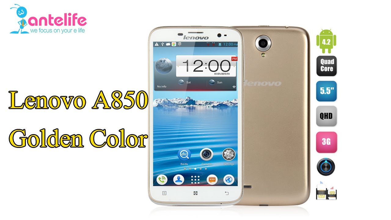 Lenovo A850 Golden Color First LookUnboxingHands On MTK6582 Quadcore