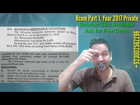 Bcom Part 1, Account Receivable, Year 2017 Private, Karachi University, Bcom Past Papers Solutions