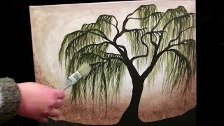 How to paint a Weeping Willow Tree - STEP by STEP