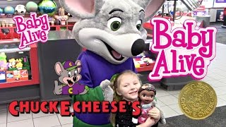 BABY ALIVE goes to CHUCK E CHEESE! The Lilly and Mommy Show! Baby Alive toy play. Games and Prizes