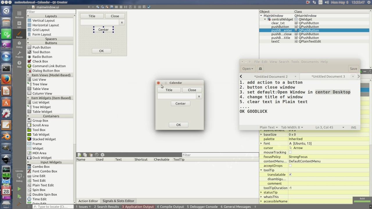 GUI C++ Qt Application: Add action button - center window on screen -  change title and more