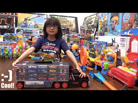 Toy Channel: Kids' Toy Cars! Fastlane Car Carrier Truck Unboxing and Playtime with Hulyan