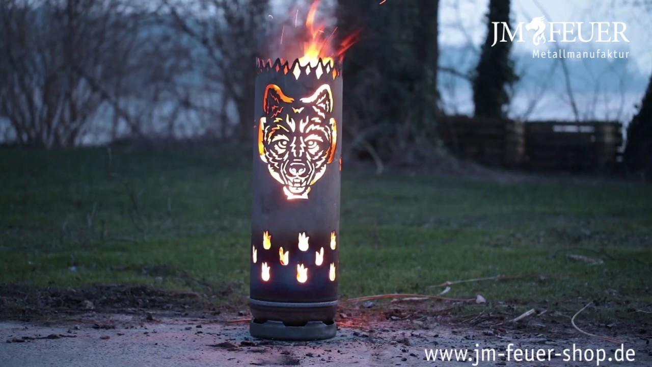 Feuertonne Wolf Aus Metall Youtube