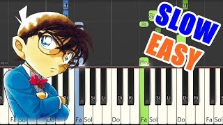 Case Closed - Detective Conan[piano tutorial easy and slow](Synthesia)名探偵コナンテーマソング【ピアノ簡単初級楽譜】