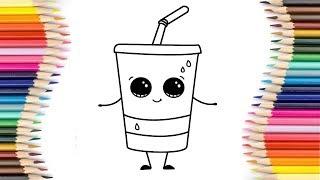 Wie zeichnet man ein Glas mit einem Strohhalm cartoon