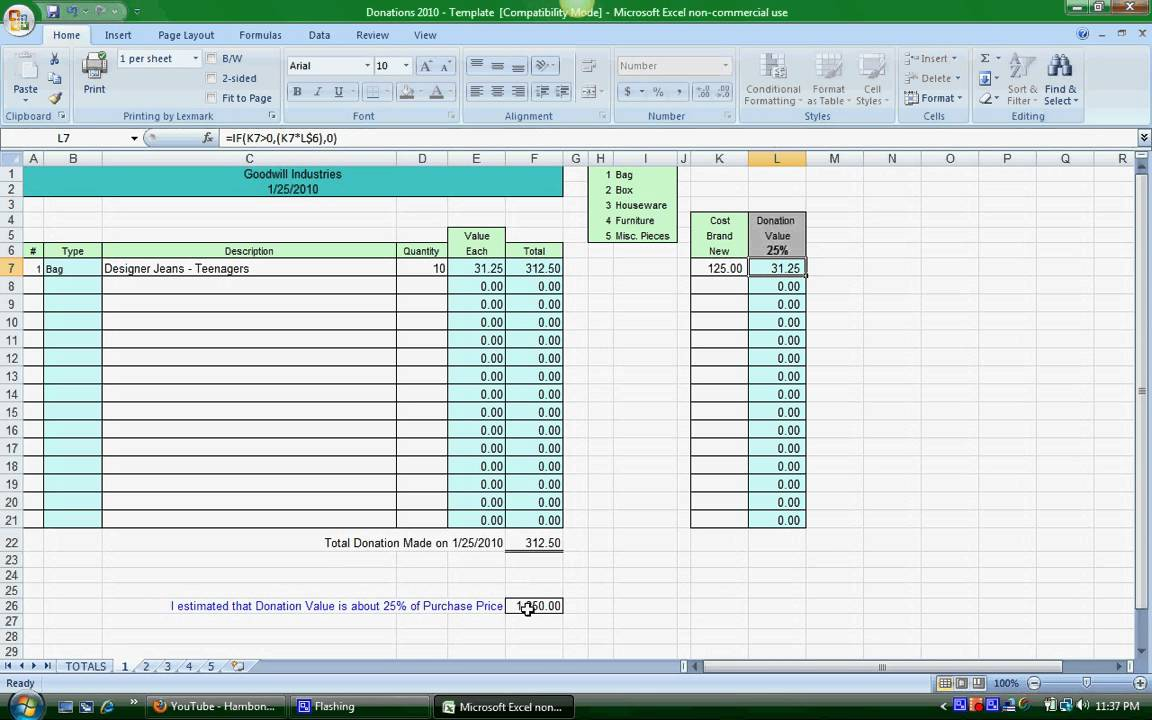 Worksheets Non Cash Charitable Contributions Donations Worksheet donation spreadsheet instructions youtube instructions