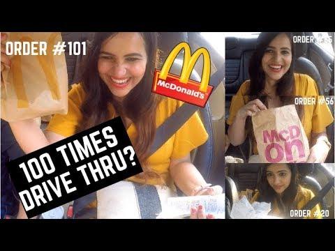 100 TIMES McDonald's Drive Thru CHALLENGE  ** CRAZY FUN **