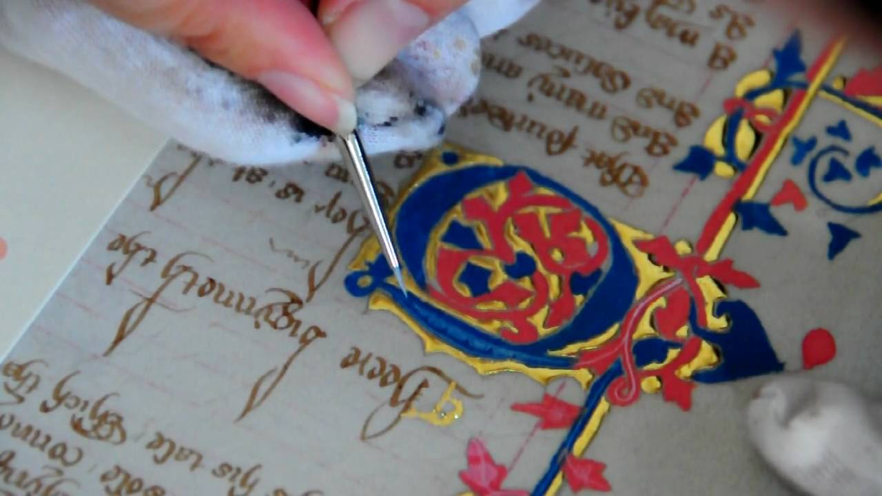 Medieval Manuscript Reproduction Part 5a Painting An Illuminated Letter